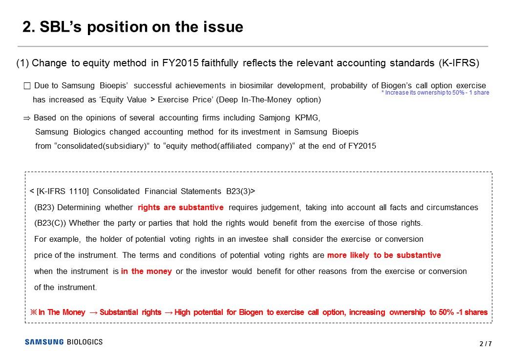 Samsung Biologics' position regarding FSS' notice | SAMSUNG
